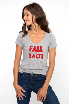 T-shirt col V FALL IN LOVE