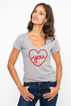 T-shirt col V LOVE YOU