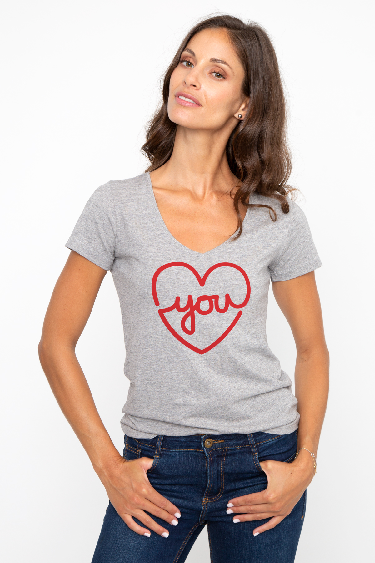 T-shirt col V LOVE YOU French Disorder