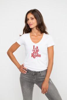 Tshirt col V LA VIE EN ROSE