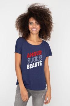 Photo de T-SHIRTS FLAMMÉS Tshirt flammé AMOUR GLOIRE BEAUTE chez French Disorder