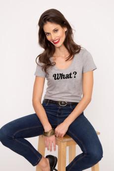 Photo de T-SHIRTS COL V Tshirt col V WHAT ? chez French Disorder