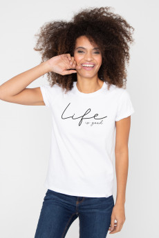 Photo de T-SHIRTS COL ROND Tshirt LIFE IS GOOD chez French Disorder