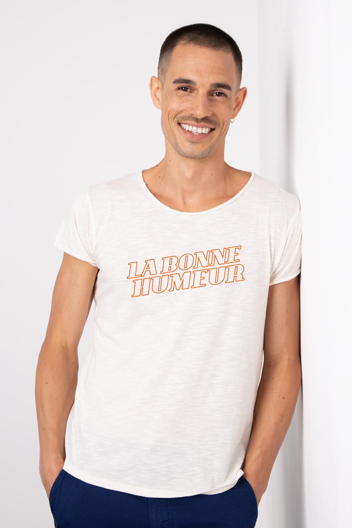 Photo de T-SHIRTS FLAMMÉS Tshirt coton flammé LA BONNE HUMEUR chez French Disorder