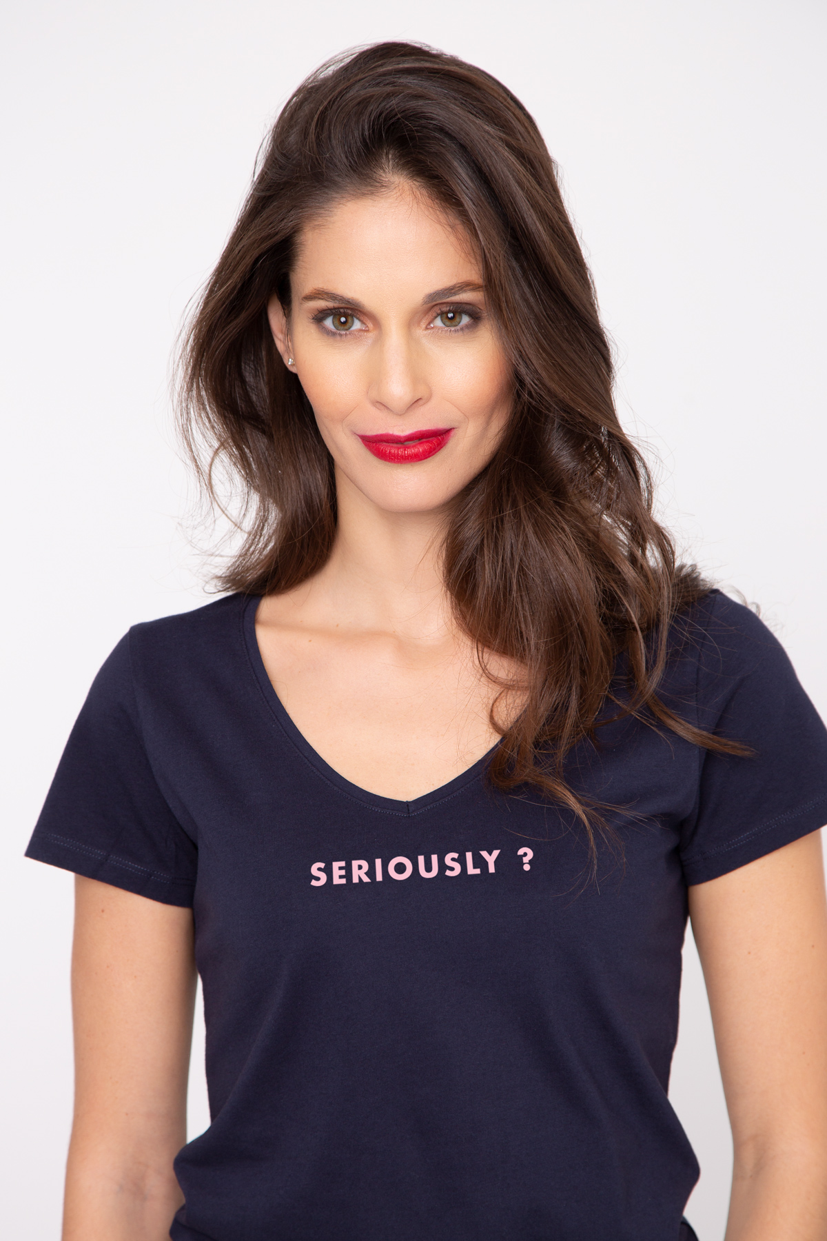 Photo de T-SHIRTS COL V Tshirt col V SERIOUSLY ? chez French Disorder