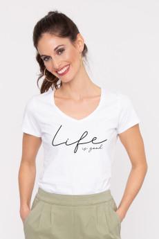 Photo de T-SHIRTS COL V Tshirt col V LIFE IS GOOD chez French Disorder